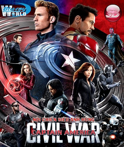 D296. Captain America Civil War - Captain America 3: Nội Chiến 3D25G (DTS-HD MA 7.1)